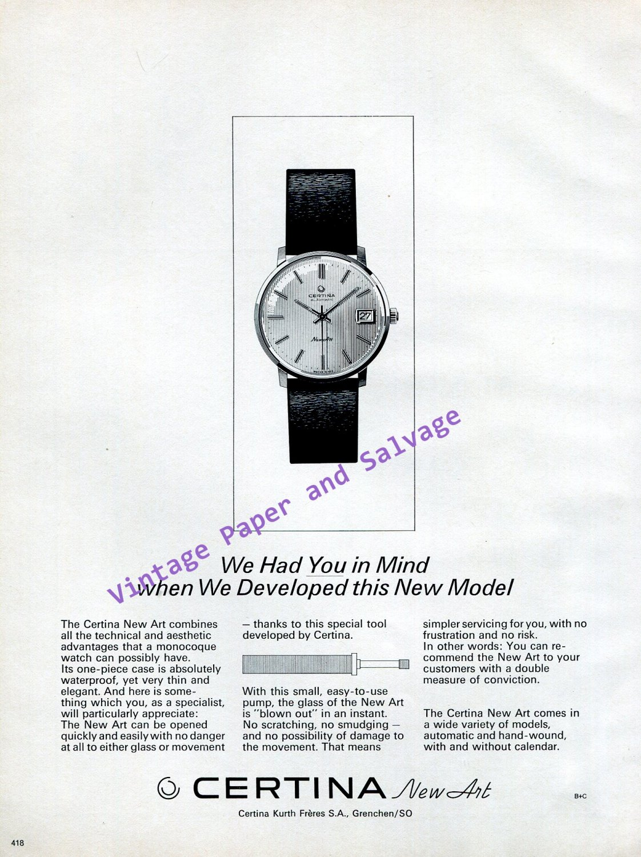 1968 Certina Watch Company Kurth Freres Certina New Art Watch Advert Swiss Print Ad