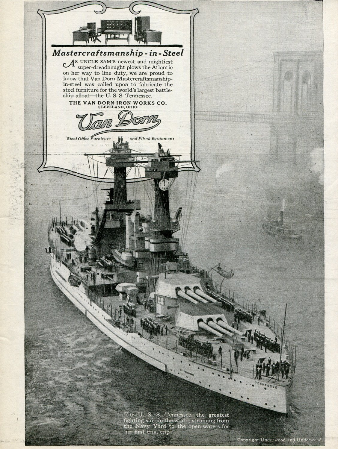 1920 Van Dorn Iron Works Cleveland Oh Uss Tennessee Ship Steel Print Ad Advert
