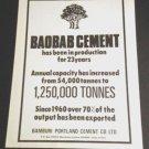 Vintage 1970s Bamburi Portland Cement Co Mombasa Bambu Baobab Cement Kenya 1970s Print Ad Advert