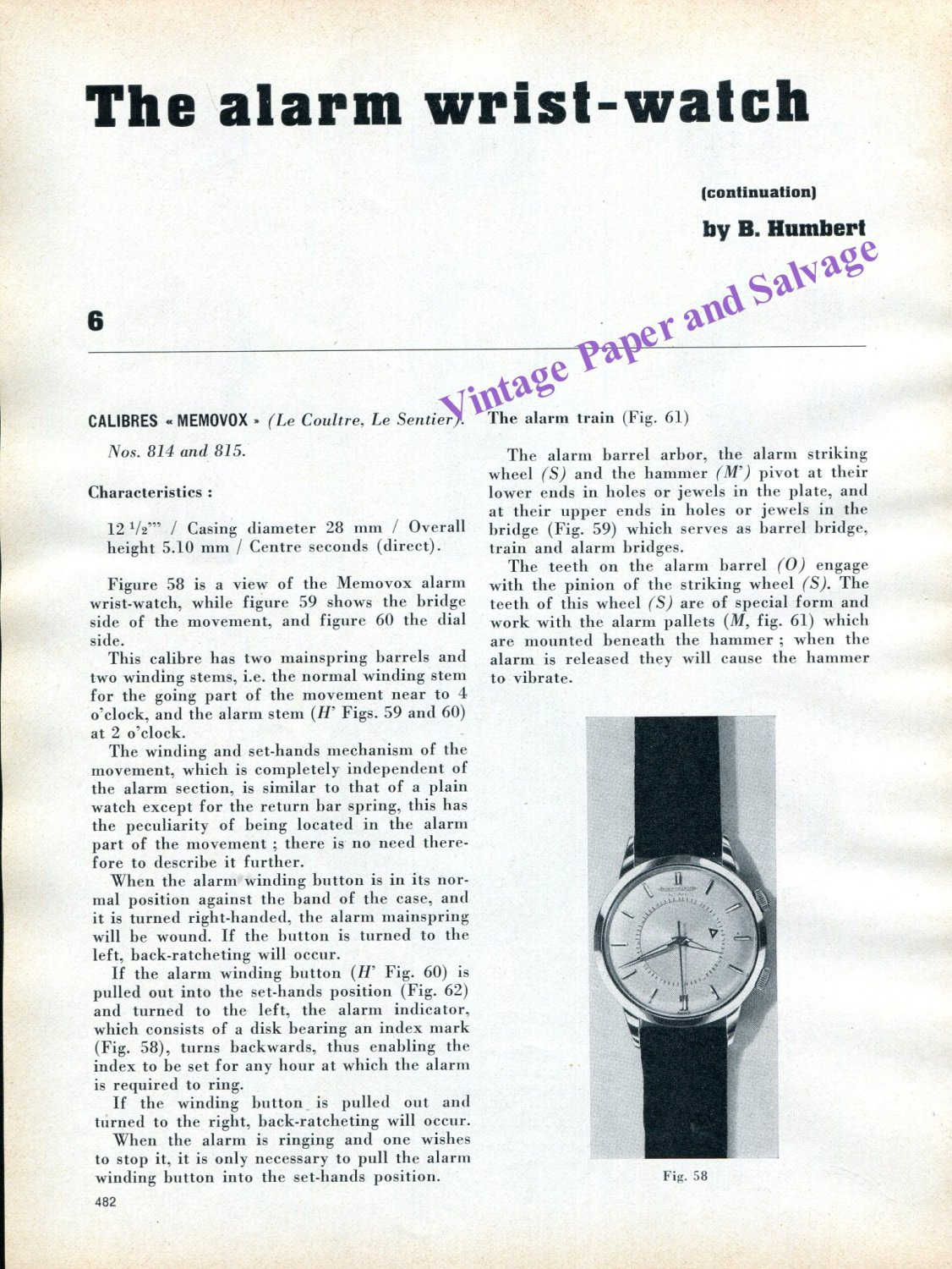 1960 Jaeger-LeCoultre Memovox The Alarm Wrist Watch No. 814 No. 815 by B. Hubert Swiss Suisse