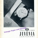 1960 Juvenia Watch Company Centenary 100 Year Anniversary Swiss Print Ad Suisse