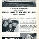1955 Movado Waterproof Watch Advert From Le Havre to New York and Back Swiss Ad