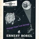 1955 Ernest Borel Datoptic Watch Advert Vintage 1950s Swiss Print Ad Switzerland