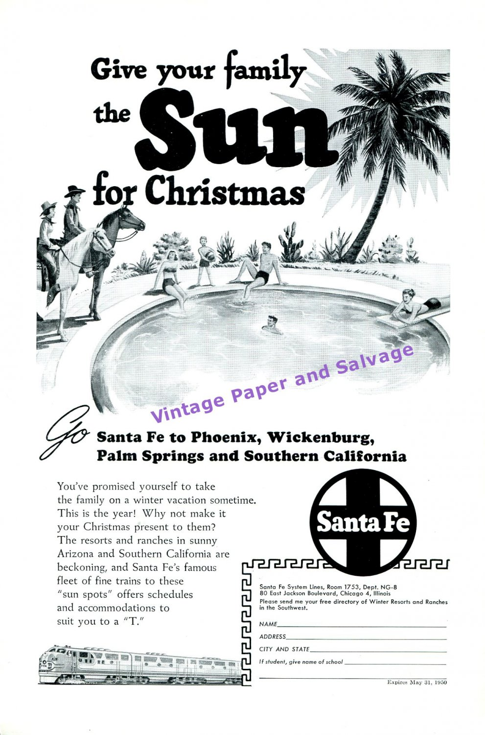 1949 Santa Fe Train Line Give Your Family the Sun for Christmas Railroad 1940s Print Ad