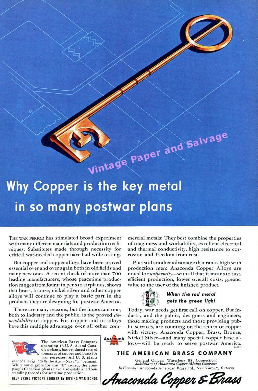 1944 Anaconda Copper & Brass Copper Is The Key to Postwar Plans WWII WW2 1940s Print Ad