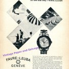 1964 Favre-Leuba Bivouac Watch Advert Time Altitude Weather 1960s Swiss Print Ad