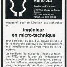 Portescap Reno SA Switzerland Vintage 1969 Employment Advert Swiss Ad Horology