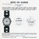 1969 Fortis Flipper Watch Advert Mise en Garde Montres Fortis SA Swiss Print Ad