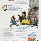 1956 Puss 'n Boots Whole Fish Cat Food Ad Quaker Oats Co Circus Elephant 1950s Print Ad Advert