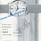 1961 Exactus Watch Company On Land, in the Air or Sailing Seas Swiss Print Ad