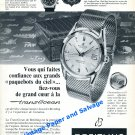 1958 Breitling TransOcean Watch Advert Vintage 1950s Swiss Print Ad Airline Pilots Aviation