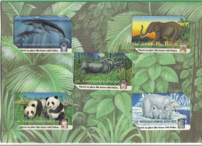 Endanger species (mint) Phonecard Limited Edition. Set of 5