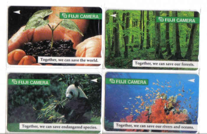 Fuji natural (mint) Phonecard Limited Edition. Set of 4