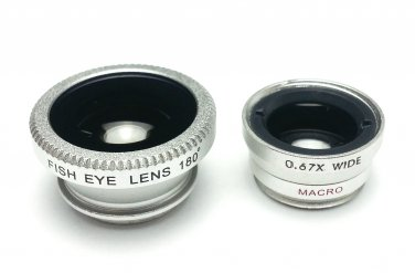 (Silver) Clip Lens 3-in-1, Fish eye, Wide Angle, Macro, for moblie camera