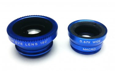 (Blue) Clip Lens 3-in-1, Fish eye, Wide Angle, Macro, for moblie camera