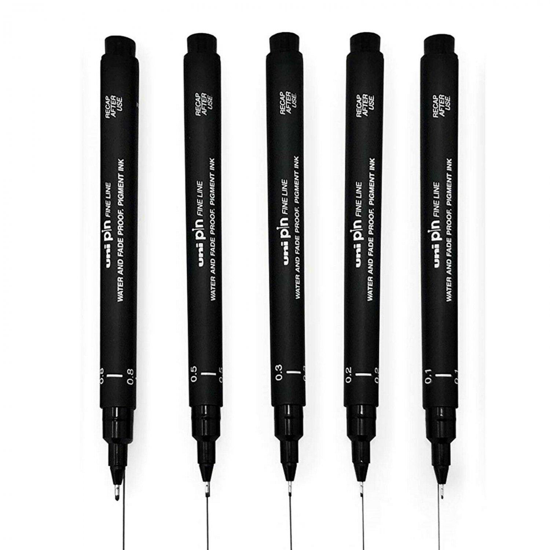 Uni-ball Pen Uni Pin Fine Line Pen Technical Drawing Pens Art Pen (Set of 5)