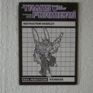 Transformers G1 Insecticon Kickback Instruction Manual