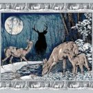 WILDLIFE PRINTS FABRIC PANEL 45 INCH BY 36 INCH Moonlight Serenade WALL HANGING