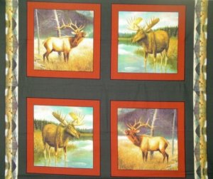 45 INCH BIG GAME MOOSE PANELS 100% COTTON FABRIC 1 YARD four 14.5 INCH each