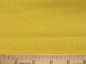 "one yard Pin Dot Polka Dots 45"" 100% Cotton Quilt Fabric Sun Yellow free ship"