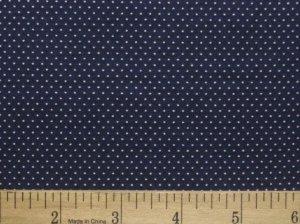 "one yard Pin Dot Polka Dots 45"" 100% Cotton Quilt Fabric Dark Navy Blue free s"