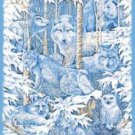 Wall Hanging Panel Animal Mid Winter Dream Ice Blue COTTON FABRIC 44'' x 35''