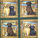 Animal 4 Pillow each Panel Dogs Life COTTON FABRIC 44/45'' x 35'' free ship