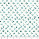 "QUILT BACKING Calico Turquoise on White 108"" WIDE COTTON NEW ON BOLT BY THE YARD"