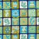 Yard Quilt Fabric Garden Party Wasabi Garden Tiles Floral 100% Cotton 44/45 inch