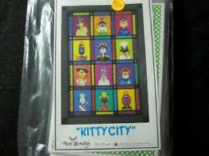 AMY BRADLEY DESIGNS Kitty City ALL 12 Quilt Blocks and finishing fabrics kit