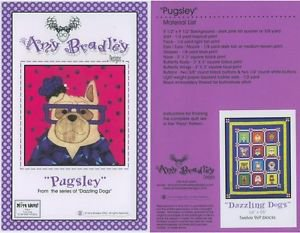 AMY BRADLEY DAZZLING DOGS PUGSLEY QUILT PATTERN only applique