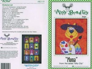 AMY BRADLEY Kitty City MONA Art Quilt Block Applique Pattern only