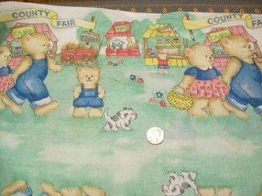 "Fat quarter 18x22 "" Cotton Quilt Fabric COUNTRY FAIR BEARS PRINCESS 1248"