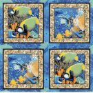 Animal Pillow Panel Coral Seas Fish tropical ocean COTTON FABRIC 44/45'' x 35''