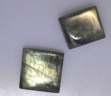 2 Labradorite rectangle cabochons, 67.05 carats total weight