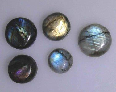 Five Labradorite round cabochons, 98.16 carats total