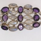 Amazing Rainbow Moonstone and natural Amethyst sterling bracelet