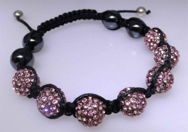New cord bracelet with flashy bright pink sparkle beads, Hematite