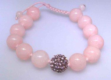 Pink Quartz gemstone bracelet with pink sparkle bead