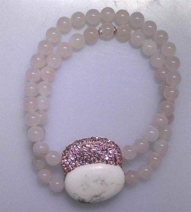 New rose quartz bead bracelet with reversible Howlite, sparkle clasp