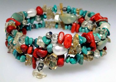 New Turquoise, Citrine, Pearl, Sponge Coral coil bracelet