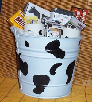 Cow Lovers Gift Basket Mugs Tin Bucket Candy Figurine