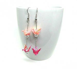 origami paper crane earrings