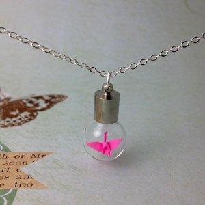 bottle necklace, miniature origami paper cranes necklace, glass bottle