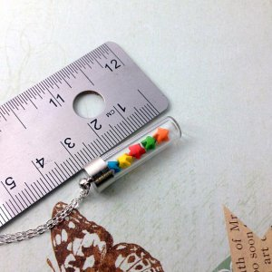miniature rainbow origami lucky stars glass vial necklace, bottle necklace