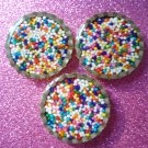 Rainbow Candy Imperials Spinkles Resin Filled Bottle Cap Magnet Set of 3