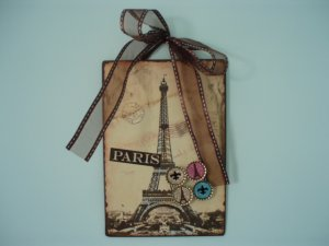 Eiffel Tower Paris Magnetic Board Picture Frame Set of 4 Glitter Magnets Fleur De Lis BROWN
