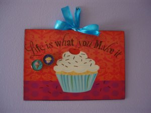 Cupcake Magnetic Board Picture Frame with a Set of 2 Glitter Magnets Life is What You Make It