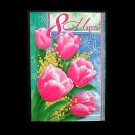 FIVE PINK TULIPS RUSSIAN LANGUAGE MOTHERS WOMANS DAY CARD