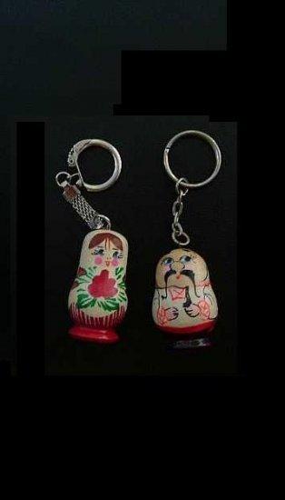 RUSSIAN UKRAINIAN HIS AND HERS MATRUSHKA DOLL STYLE KEY RINGS